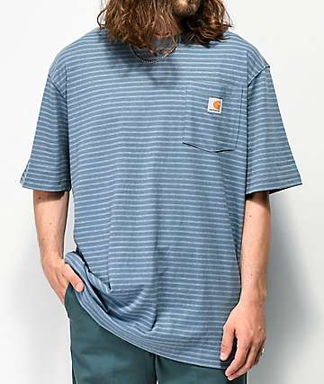 Carhartt Workwear Blue Striped Pocket T-Shirt