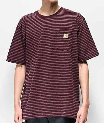 Carhartt Workwear Wine & Grey Striped Pocket T-Shirt