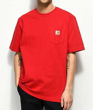 Carhartt Workwear camiseta roja con bolsillo