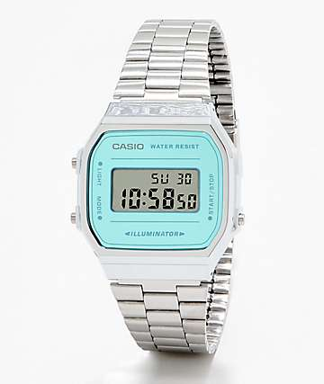 Casio A168WEM-2VT Vintage Silver & Blue Digital Watch