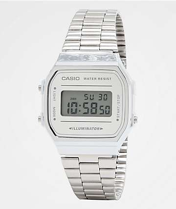 17c7c7a9510a Casio A168WEM-7VT Vintage All Silver Digital Watch