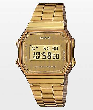 Casio Vintage Diamond Face reloj digital en color oro
