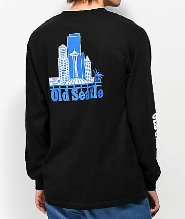 Casual Industrees Old Seattle Black & Blue Long Sleeve T-Shirt