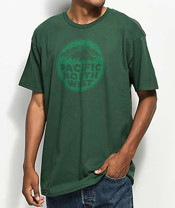 Casual Industrees PNW Circle Forest Green T-Shirt