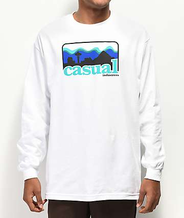 Casual Industrees PNW Skyline Long Sleeve White T-Shirt