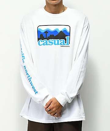 Casual Industrees PNW Skyline camiseta blanca de manga larga