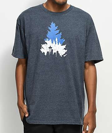 Casual Industrees Seattle Johnny Tree camiseta en azul marino jaspeado