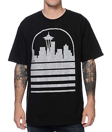 Casual Industrees Seattle Skyline Speckle Ice camiseta negra