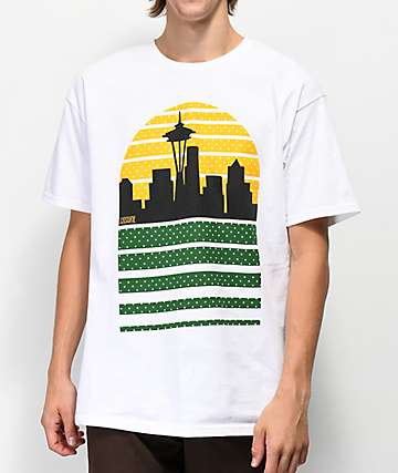 Casual Industrees Seattle Skyline White T-Shirt
