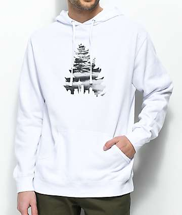 Casual Industrees WA Johnny Tree Above Clouds White Hoodie