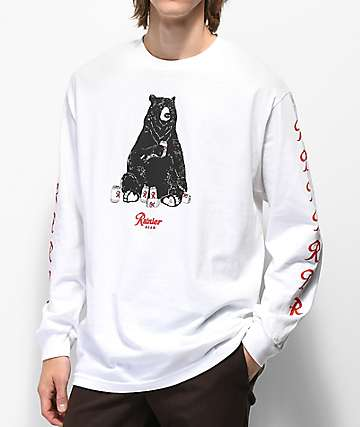 Casual Industrees x Rainier Bear camiseta blanca de manga larga
