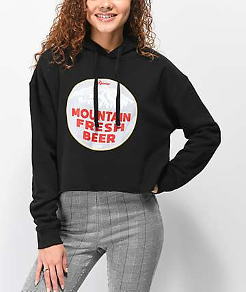 Casual Industrees x Rainier Mountain Fresh Black Crop Hoodie