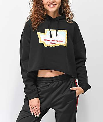 Casual Industrees x Rainier Washington Fresh Black Crop Hoodie