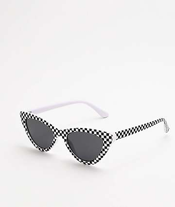 Cat Eye Black & White Checker Sunglasses