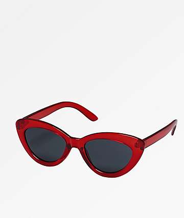 Cat Eye Crystal Red Sunglasses