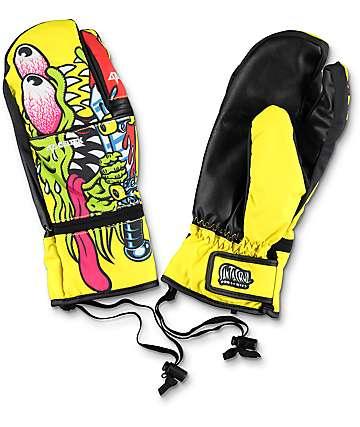 Celtek X Santa Cruz Trippen Mitten Slash mitones de snowboard en amarillo