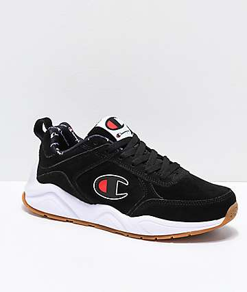 Champion 93 Eighteen Big C Black & White Suede Shoes