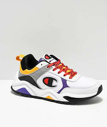 Champion 93 Eighteen Big C zapatos blancos, morados y amarillos