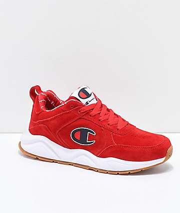 Champion 93 Eighteen Big C zapatos de ante escarlata y blanca