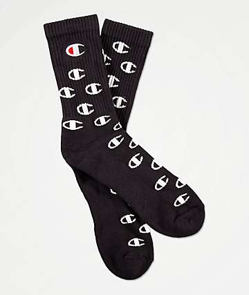 Champion All Over C Black Crew Socks