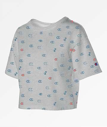 Champion All Over Print Grey, Blue & Papaya Crop T-Shirt