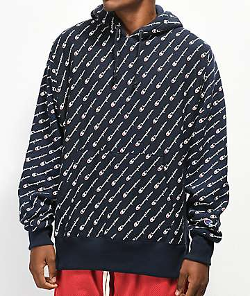 Champion All Over Print sudadera con capucha azul marino
