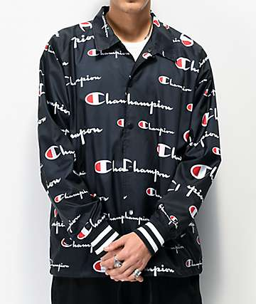Champion All Over Script Black Coaches Jacket