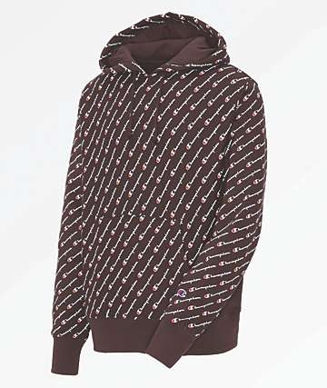 Champion All Over Script Maroon Hoodie