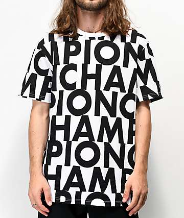Champion Allover Print Block Text White T-Shirt