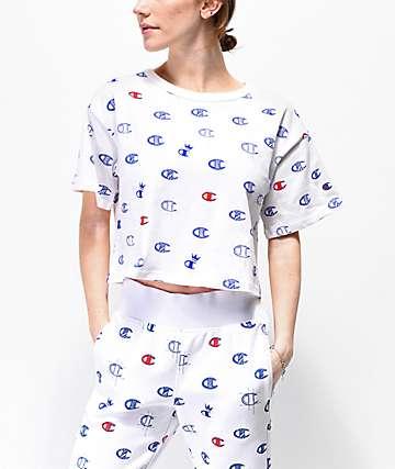 Champion Allover Print White, Blue & Red Crop T-Shirt