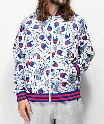 Champion Allover Tag Print White Baseball Jacket