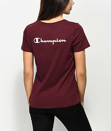 Champion Back Script Burgundy T-Shirt