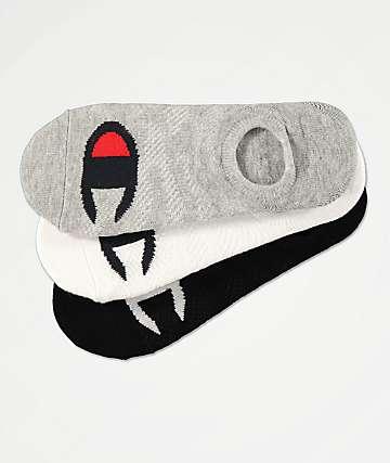 Champion Big C Grey, White & Black 3 Pack No Show Socks