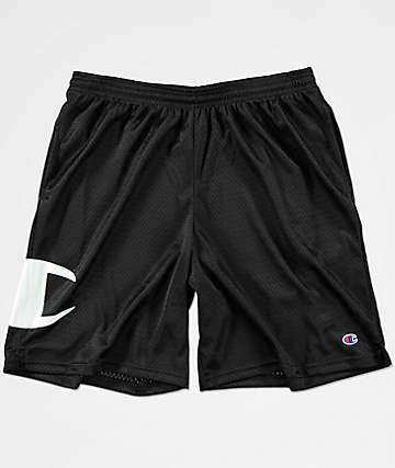 Champion Big C Logo Black Mesh Shorts