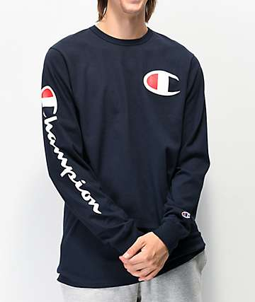 Champion Big C Navy Long Sleeve T-Shirt