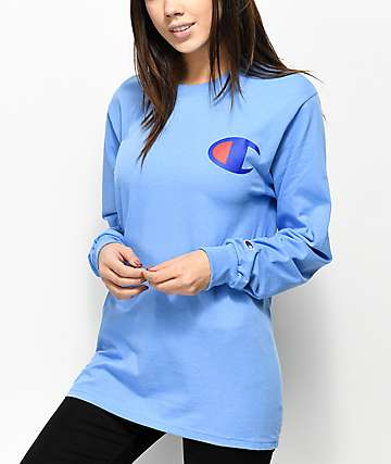 Champion Big C Script Light Blue Long Sleeve T-Shirt