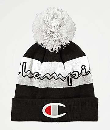 Champion Black, Grey & White Pom Beanie