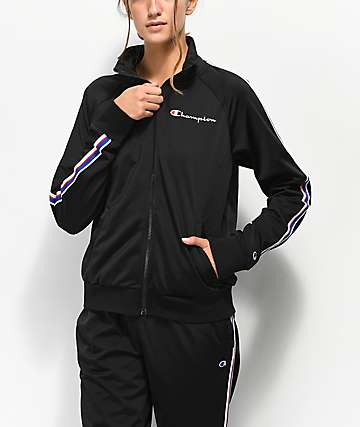 Champion Black & Striped Track Jacket