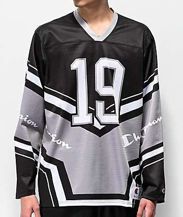 Champion Black & White Long Sleeve Hockey Jersey