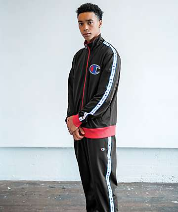 Champion Black & Taped Track Pants