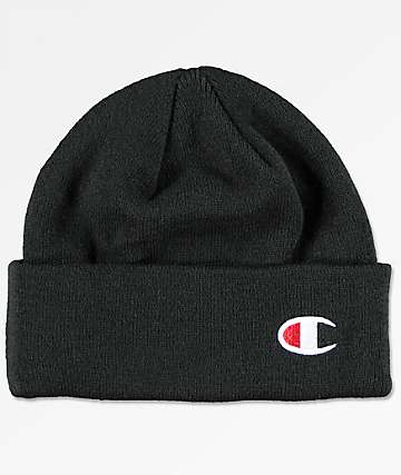 Champion Black Beanie