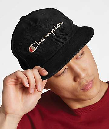 Champion Black Corduroy Strapback Hat