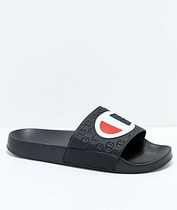 Champion Black Slide Sandals