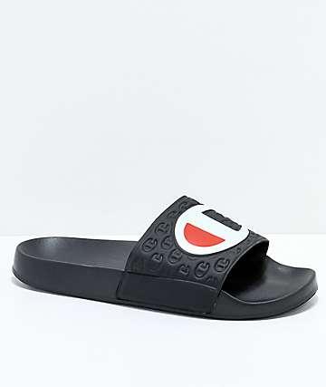 Champion Black Slide Sandals