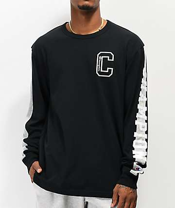 Champion Block C Black Long Sleeve T-Shirt