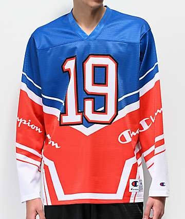 Champion Blue & White Long Sleeve Hockey Jersey