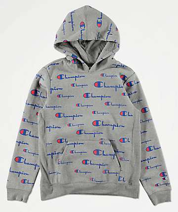 Champion Boys All Over Print Grey Hoodie