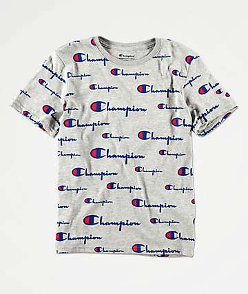 Champion Boys All Over Script Grey T-Shirt