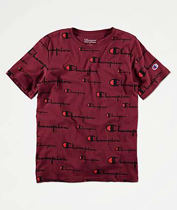 Champion Boys All Over Script Red T-Shirt