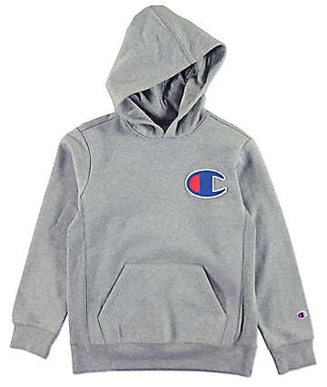 Champion Boys C Patch Medium Grey Hoodie